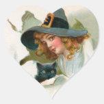 Pegatinas de la bruja y del gatito de Halloween Pegatina En Forma De Corazón