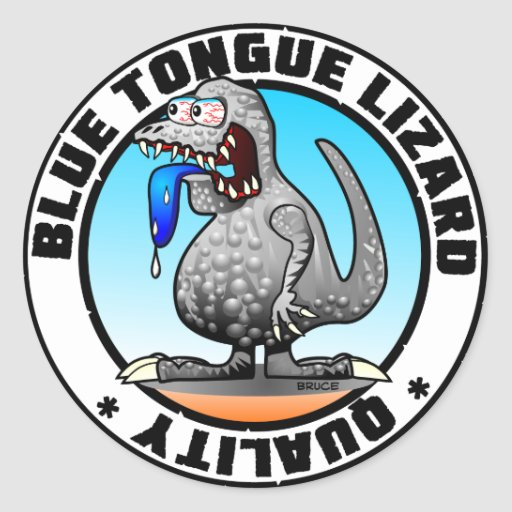 Pegatinas de la calidad del lagarto de la lengua etiqueta redonda