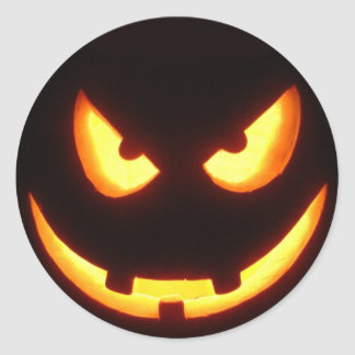 Pegatinas de la cara de la calabaza de Halloween Pegatina Redonda