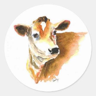 pegatinas de la cara de la vaca pegatinas redondas