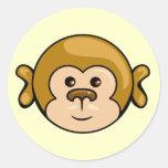 pegatinas de la cara del mono pegatina redonda