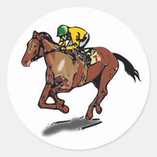 Pegatinas de la carrera de caballos etiquetas redondas