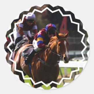 Pegatinas de la carrera de caballos pegatina redonda