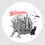 Pegatinas de la casa encantada de Halloween Etiqueta Redonda