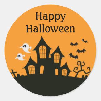 Pegatinas de la casa encantada del feliz Halloween Pegatina Redonda