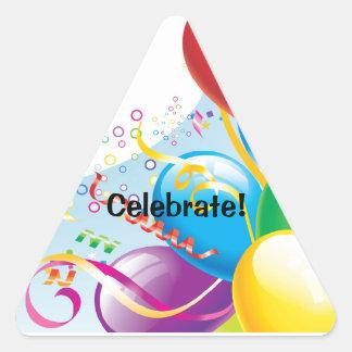 Pegatinas de la celebración del cumpleaños pegatina triangular
