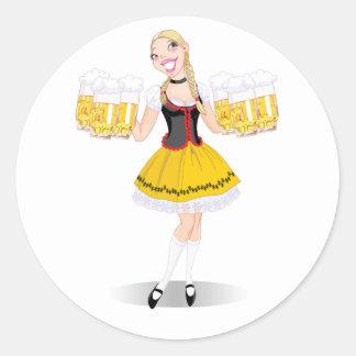 Pegatinas de la cerveza de la porción del chica pegatina redonda