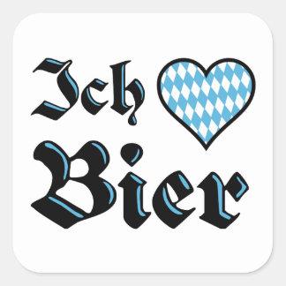 Pegatinas de la cerveza del amor del Bavarian I Pegatina Cuadrada