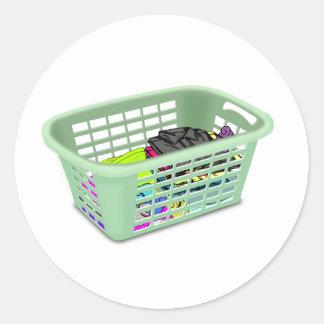 Pegatinas de la cesta de lavadero pegatina redonda