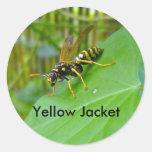 Pegatinas de la chaqueta amarilla etiquetas redondas