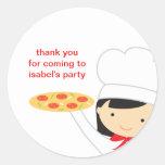 Pegatinas de la chica marchosa de la pizza etiquetas redondas
