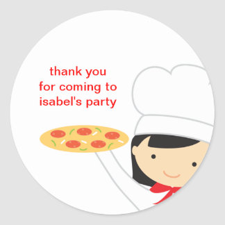 Pegatinas de la chica marchosa de la pizza pegatina redonda