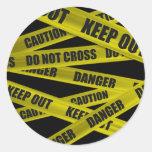 Pegatinas de la cinta de la precaución pegatina redonda