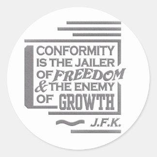 Pegatinas de la cita de JFK Etiqueta Redonda