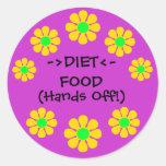 Pegatinas de la comida de la dieta pegatina redonda