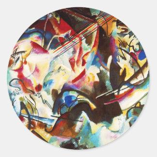 Pegatinas de la composición VI de Kandinsky Pegatina Redonda