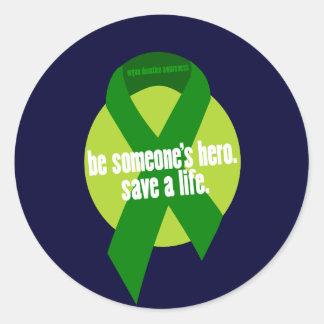 Pegatinas de la conciencia de la donación de pegatina redonda