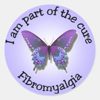 Pegatinas de la conciencia del Fibromyalgia Pegatina Redonda