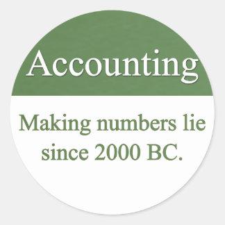 Pegatinas de la contabilidad pegatina redonda