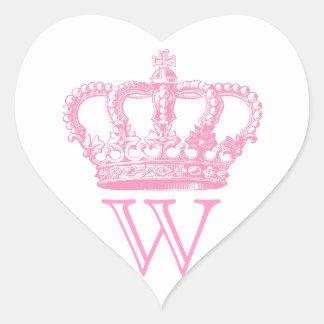 Pegatinas de la corona con el monograma pegatina en forma de corazón