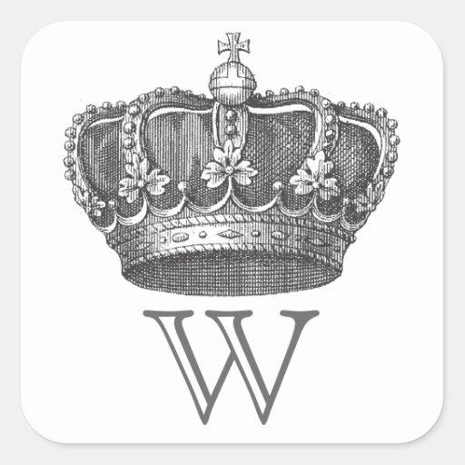 Pegatinas de la corona con el monograma pegatina cuadrada