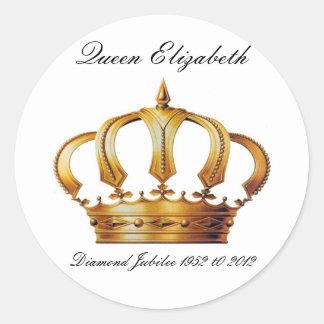 Pegatinas de la corona de la reina Elizabeth Pegatina Redonda