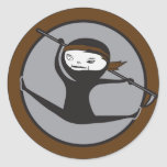 Pegatinas de la correa de Ninja Brown Pegatina Redonda