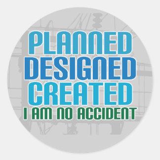 Pegatinas de la creación: Planeado diseñado creado Etiquetas Redondas