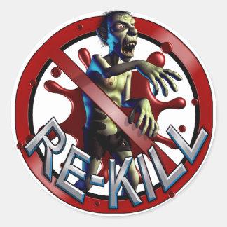 Pegatinas de la cuenta de la Re-Matanza del zombi Etiqueta Redonda