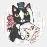 Pegatinas de la danza del gato del boda etiquetas redondas