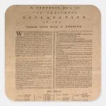 Pegatinas de la Declaración de Independencia Calcomanías Cuadradases