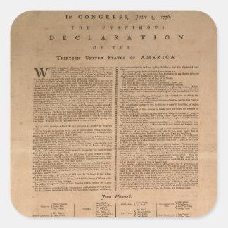 Pegatinas de la Declaración de Independencia Pegatina Cuadrada