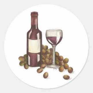 Pegatinas de la degustación de vinos pegatina redonda