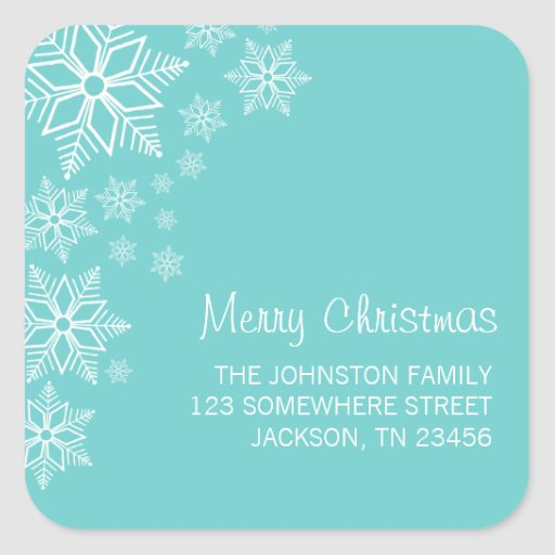 Pegatinas de la dirección de las Felices Navidad Pegatina Cuadradas Personalizadas