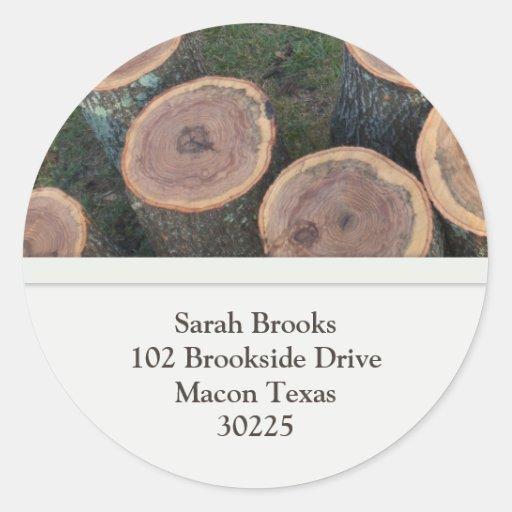 Pegatinas de la dirección de los registros etiquetas redondas