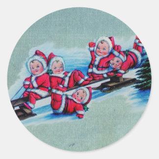 Pegatinas de la diversión del navidad etiquetas redondas