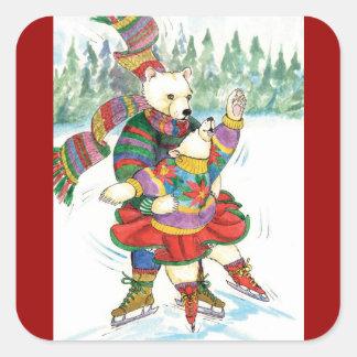 Pegatinas de la diversión del patinaje de hielo de pegatina cuadrada