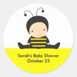 Pegatinas de la ducha de la abeja del bebé pegatina redonda