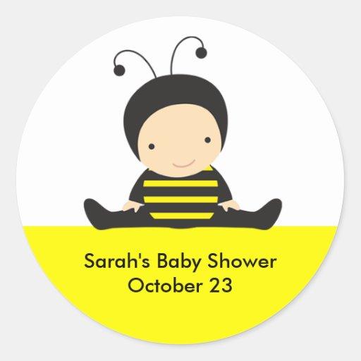 Pegatinas de la ducha de la abeja del bebé etiqueta redonda