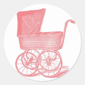 Pegatinas de la ducha de la niña del carro del pegatina redonda