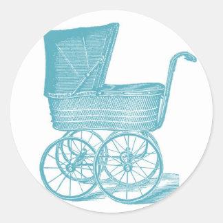 Pegatinas de la ducha del bebé del carro del pegatina redonda