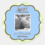 Pegatinas de la ducha del bebé etiquetas redondas