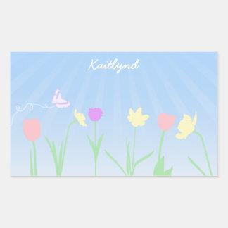 Pegatinas de la escena de la primavera pegatina rectangular