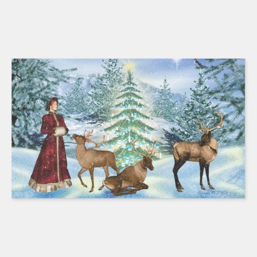 Pegatinas de la escena del invierno del navidad pegatina rectangular