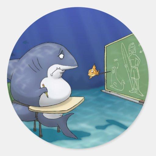 Pegatinas de la escuela del tiburón pegatina redonda