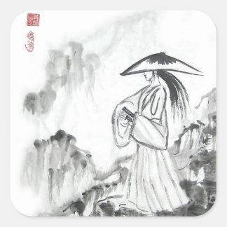 Pegatinas de la espada del dibujo del samurai calcomania cuadradas personalizadas