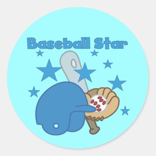 Pegatinas de la estrella de béisbol pegatina redonda