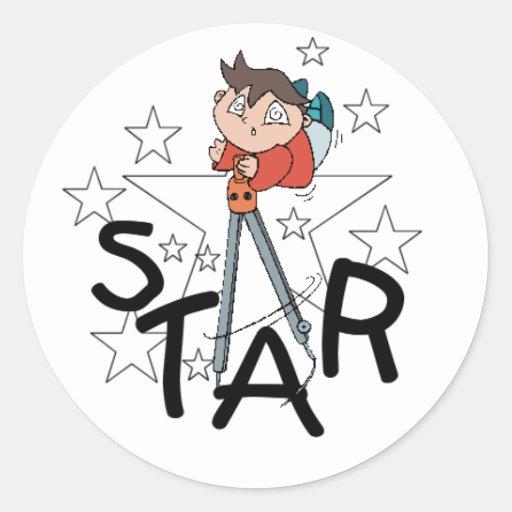 Pegatinas de la estrella de los niños pegatina redonda