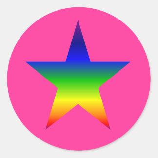 pegatinas de la estrella del arco iris de las pegatina redonda