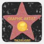 Pegatinas de la estrella del artista gráfico del pegatina cuadrada